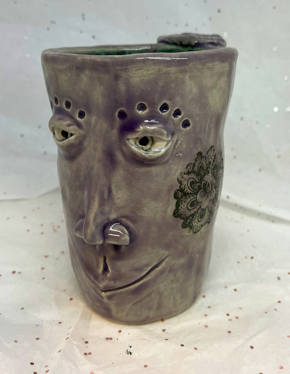 Sale - Handbuilt Face Mug - purple  (Free US Shipping)