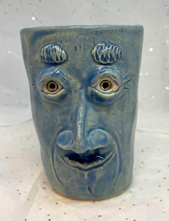Sale -Handbuilt Face Mug - blue  (Free US Shipping)