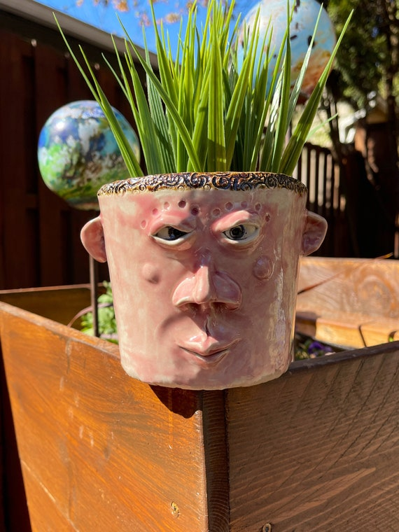 Face Planter - glazed in glossy rose glaze - Free US Shipping