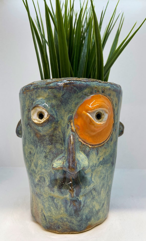 Face Planter - glazed in northern lights and orange glazes - Free US Shipping
