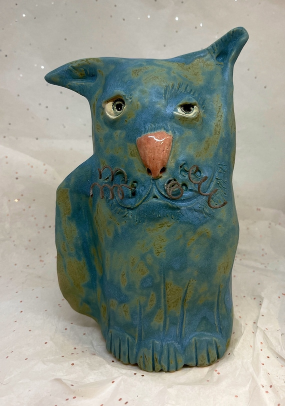 Ceramic Blue Cat - Free US Shipping