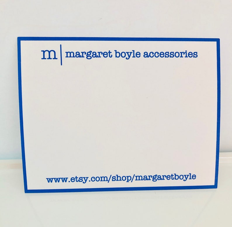 Personalized Flat Business Note Cards Bordered Free Shipping