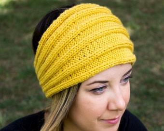 Yellow Vegan Headband - Panta Finnish Headband - Ear Warmers - Boho Headband - Winter Hair Accessory - Acrylic Hand Knit - Hair Band