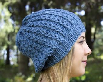 Sky Blue Slouchy Knit Hat - Blue Vegan Hat - Boho Hat - Hipster Hat - Hippie Hat - Womens Tam - Mens Beanie - Unisex Hat - Acrylic Hand Knit