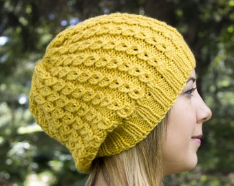 Yellow Slouchy Knit Hat - Yellow Vegan Hat - Boho Hat - Hipster Hat - Hippie Hat - Womens Tam - Mens Beanie - Handknit - Gift for Her