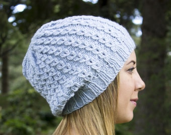 Pale Blue Slouchy Knit Hat -Blue Vegan Hat - Boho Hat - Hipster Hat - Hippie Hat - Womens Tam - Mens Beanie - Unisex Hat - Gift For Her