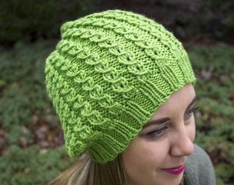 Lime Green Slouchy Knit Hat - Neon Green Vegan Hat - Boho Hat - Hipster Hat - Hippie Hat - Womens Tam - Mens Beanie - Unisex Hat