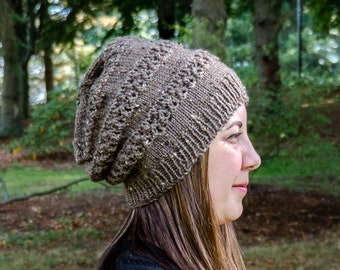 Taupe Slouchy Knit Hat - Brown Vegan Hat - Slouchy Beanie - Slouchy Knit Winter Toque - Womens Knit Hat - Vegan Knit - Hand Knit Gift