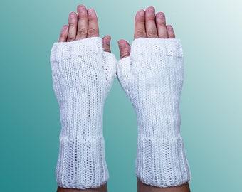 White Fingerless Gloves - Vegan Fingerless Gloves - Knit White Wrist Warmers - Fingerless Mittens - Texting Gloves - Armwarmers Gift for Her
