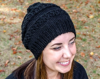 Black Slouchy Knit Hat - Black Vegan Hat - Slouchy Beanie - Slouchy Knit Winter Toque - Womens Knit Hat - Vegan Knit - Hand Knit Gift