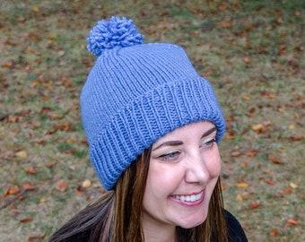 Knit Vegan Winter Hat - Lavender PomPom Beanie - Purple Knit Toque - Lavender Womens Knit Hat - Vegan Knitted Pom Hat - Hand Knit Gift