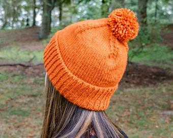 Knit Vegan Winter Hat - Pumpkin Orange PomPom Beanie - Orange Knit Toque - Orange Womens Knit Hat - Vegan Knitted Pom Hat - Hand Knit Gift