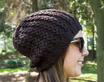 Brown Slouchy Knit Hat - Chocolate Brown Vegan Hat - Boho Hat - Hipster Hat - Hippie Hat - Womens Tam - Mens Beanie - Handknit Gift for Her