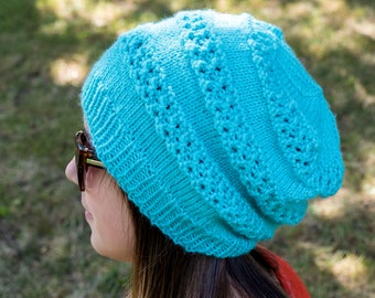 Turquoise Slouchy Knit Hat - Turquoise Vegan Hat - Light Turquoise Hat - Hipster Hat - Hippie Hat Womens Tam - Mens Beanie - Gift For Her