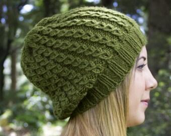 Olive Green Slouchy Knit Hat - Green Vegan Hat - Boho Hat - Hipster Hat - Hippie Hat - Womens Tam - Mens Beanie - Unisex Hat