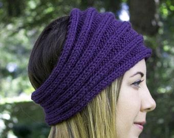 Purple Vegan Headband - Panta Finnish Headband - Ear Warmers - Boho Headband - Winter Hair Accessory - Acrylic Hand Knit - Hair Band