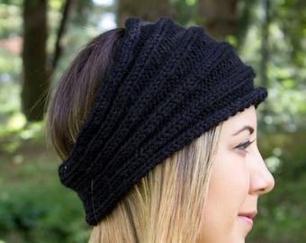 Black Vegan Headband - Panta Finnish Headband - Ear Warmers - Boho Headband - Winter Hair Accessory - Acrylic Hand Knit - Hair Band