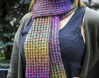 Rainbow Hand Knit Women's Scarf - Rainbow Vegan Scarf - Boho Scarf - Hipster Scarf - Acrylic Scarf - Long Chunky Scarf - Rib Stitch