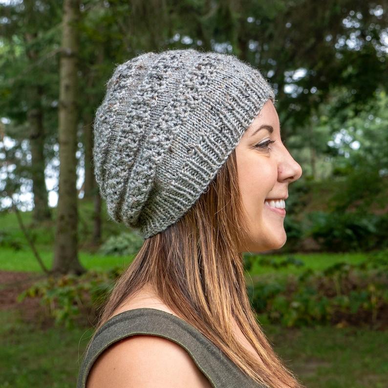 b51ea889ce1 Heather Gray Slouchy Knit Hat Grey Vegan Hat Boho Hat