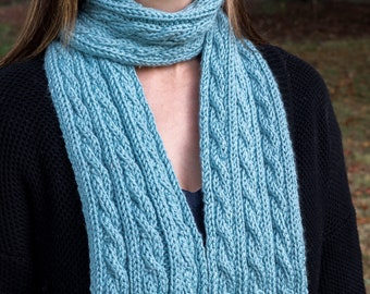Blue Chunky Knit Cable Scarf - Light Sky Blue Vegan Scarf - Minimalist Cable Knit - Winter Scarf - Mens Gift - Womens Gift - Gift for Her