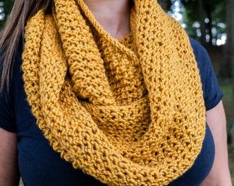Golden Orange Infinity Scarf - Orange Chunky Knit Scarf - Vegan Infinity Scarf - Circle Scarf - Cozy Winter Scarf - Gift for Her
