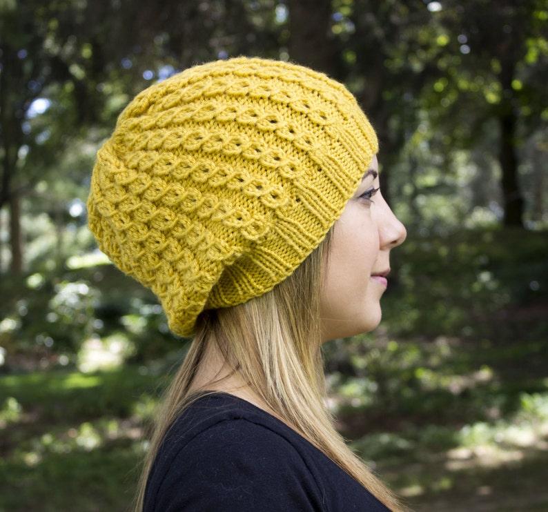 6fa81e75949 Yellow Slouchy Knit Hat Yellow Vegan Hat Boho Hat