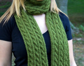 Green Hand Knit Women's Scarf - Green Vegan Scarf - Cable Knit - Boho Scarf - Hipster Scarf - Acrylic Scarf - Olive Green Long Chunky Scarf