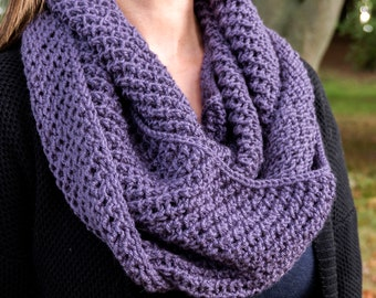 Purple Infinity Scarf - Purple Chunky Knit Scarf - Vegan Infinity Scarf - Circle Scarf - Cozy Winter Scarf - Gift for Her