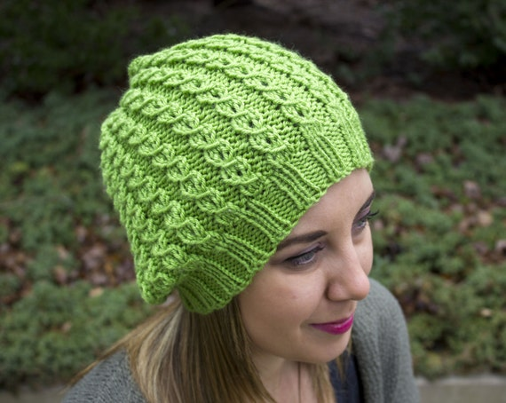 Lime Green Slouchy Knit Hat Neon Green Vegan Hat Boho Hat  c6379eb1c1
