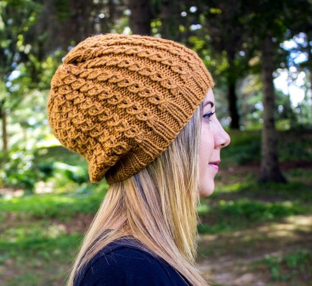 07b7ec58580 Mustard Slouchy Knit Hat Gold Vegan Hat Boho Hat Hipster