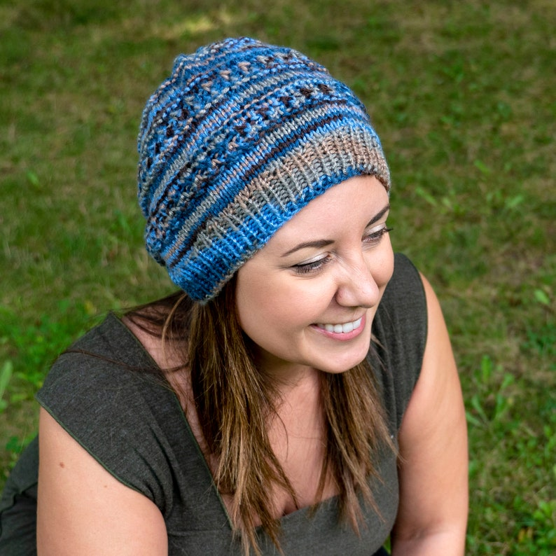 f94fd5c2c Blue and Brown Slouchy Knit Hat - Vegan Hat - Boho Hat - Hipster Hat -  Hippie Hat Womens Tam - Mens Beanie - Unisex Acrylic Hand Knit