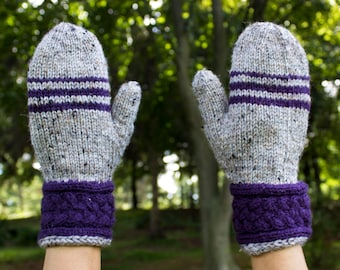 Gray & Purple Striped Mittens - Vegan Wrist Warmers - Winter Mittens - Gloves - Cable Knit - Stripe - Womens Gift - Gift for Her