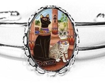 Temple Bastet Cat Bracelet Goddess Egyptian Cat Bast Fantasy Cat Art Cameo Bracelet 25x18mm Gift for Cat Lovers Jewelry