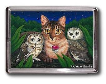 Owls Cat Magnet Saw Whet Owl Abyssinian Cat Fantasy Cat Art Framed Magnet Gifts For Cat Lovers