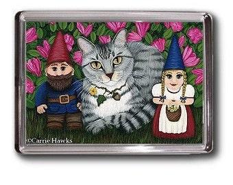 Tabby Cat Garden Gnomes Magnet Azalea Flowers Fantasy Cat Art Framed Magnet Gifts For Cat lovers