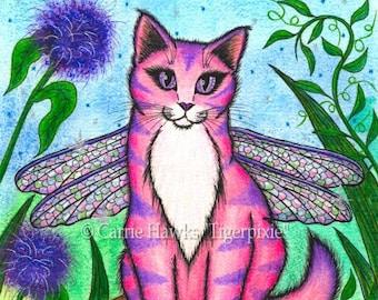 Dragonfly Fairy Cat Painting Pink Fairy Cat Winged Cat Mushroom Fantasy Cat Art Print 5x7 Cat Lovers Art