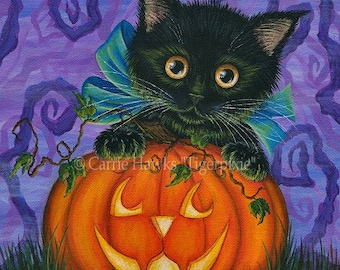 Halloween Black Cat Painting Fall Pumpkin Black Kitten Jackolantern Autumn Harvest Fantasy Cat Art Print 5x7 Cat Lovers Art