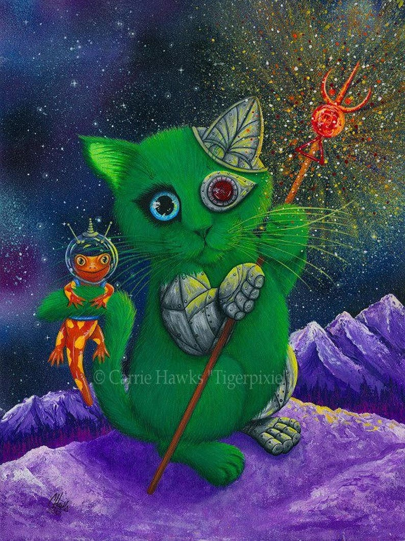 Alien Cyborg Cat Salamander Art Cat Painting Space Cat Sci-fi image 0