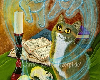 Gothic Cat Painting Witch Cat Art Ghost Cats Skull Gothic Calcio Cat Witch Spell Fantasy Cat Art Print 5x7 Cat Lovers Art