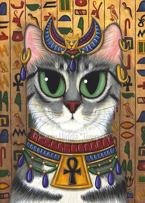 Cat Bast Art Egyptian Goddess Bastet Cat Painting Ancient Etsy