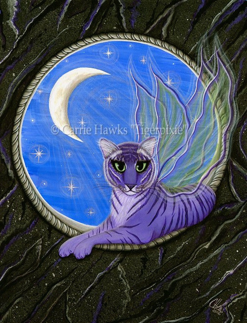 Tiger Fairy Cat Painting Tiger Artwork Purple Tiger Pixie Moon image 0