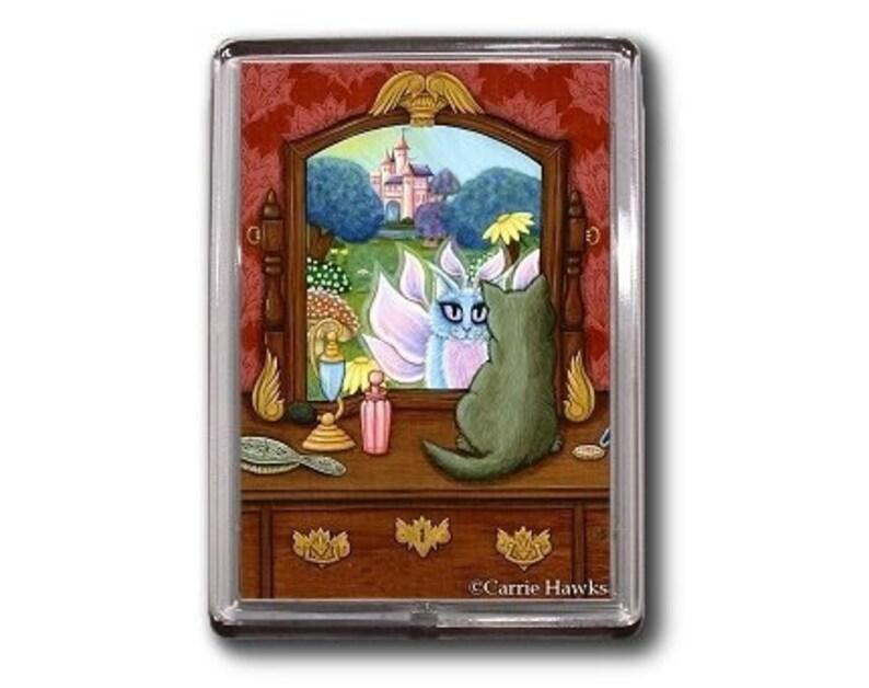 Fairy Cat Magent Chimera Vanity Fae Fantasy Cat Art Framed image 0