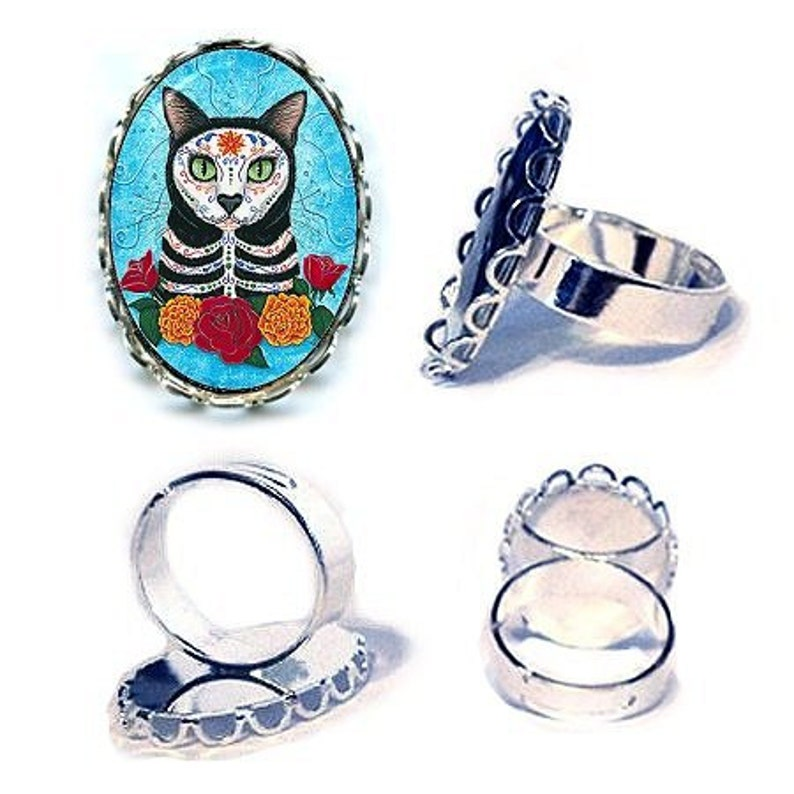 Day of the Dead Cat Ring Mexican Sugar Skull Cat Ring Gothic image 0