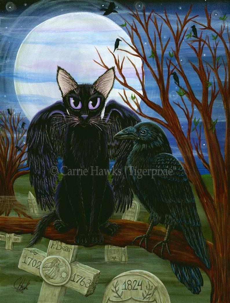 Black Cat Art Raven Cat Painting Moon Crow Winged Cat Cemetery image 0