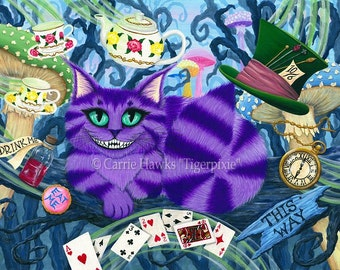 Cheshire Cat Art Cat Painting Alice in Wonderland Fairy Tale Fantasy Cat Art Print 12x16 Cat Lovers Art