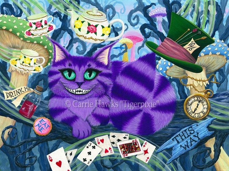 Cheshire Cat Art Cat Painting Alice in Wonderland Fairy Tale image 0