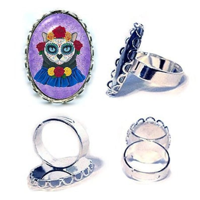 Day of the Dead Cat Ring Gal Mexican Sugar Skull Cat Art Cameo image 0