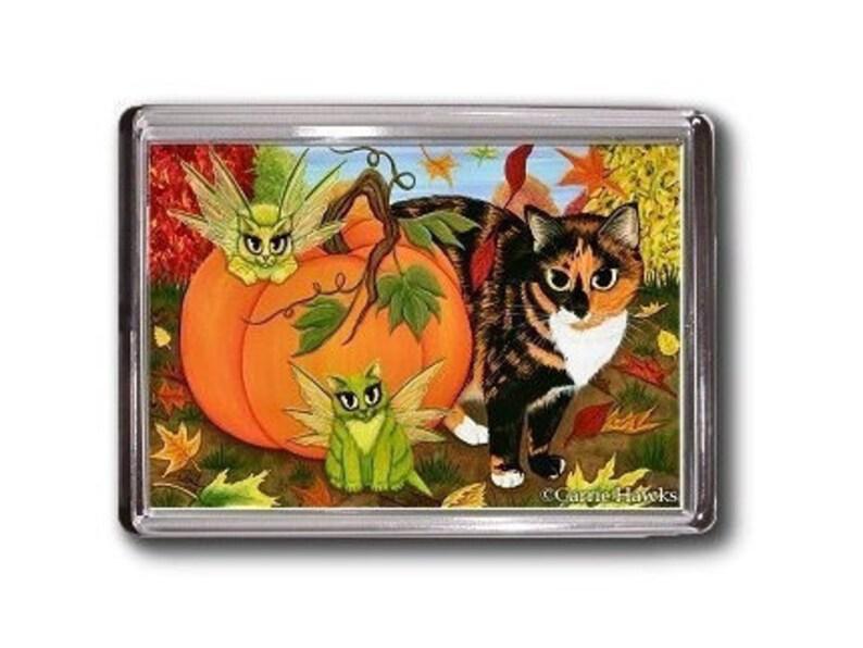 Calico Cat FAIRY CATS Pumpkin Autumn Fall Fantasy Art Magnet image 0