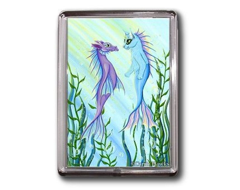 SALE Mermaid Cat Magnet Sea Dragon Mercat Fantasy Cat Art Framed Magnet Cat Lovers Gifts