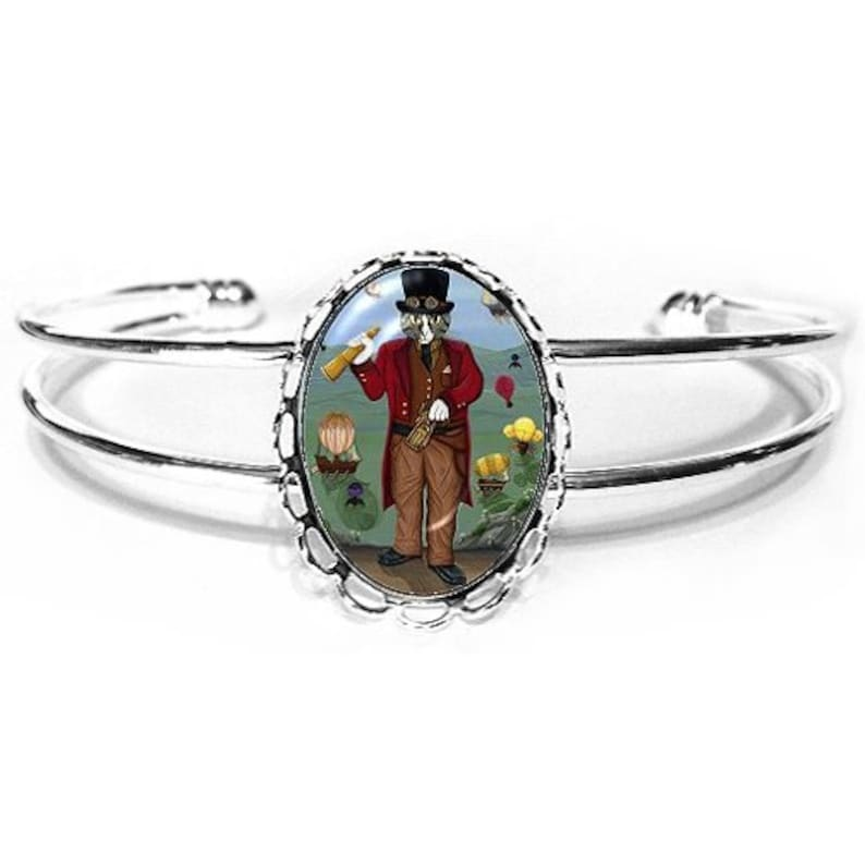 Victorian Cat Bracelet Steampunk Cat Airships Hot Air Balloons image 0